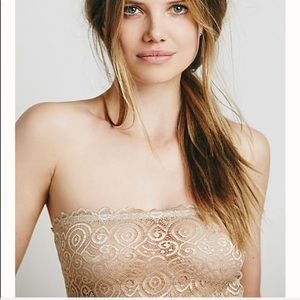 Free people lace reversible nude bandeau nwt m/l